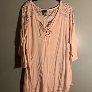 Torrid Pink Lace Up Shirt